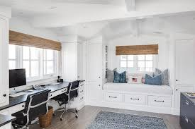 built in window seat home office for two with built in window seat transitional den