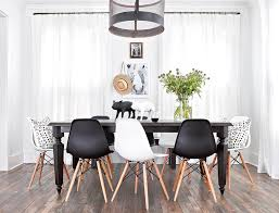 black table white chairs black and white dining chairs contemporary room regarding 3