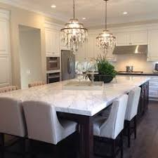 kitchen island dining white shaker waypoint cabinets designed by nathan hoffman wonder if
