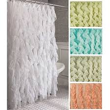 Sheer Shower Curtains Cascade Shabby Chic Ruffled Sheer Shower Curtain Wall S