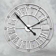 wall clocks brand large round roman numerals silver metal iron