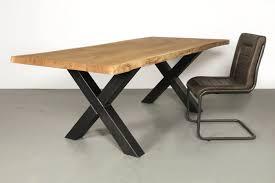 Moderner Esstisch Holz Stahl Esstisch Kreuzgestell Tara Eiche Und Stahl Wohnsektion