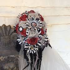 nightmare before christmas wedding cascade bouquet red black