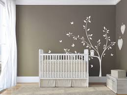 White Tree Wall Decal Nursery by White Tree Wall Decal With Cute Owl And Butterflies Extended