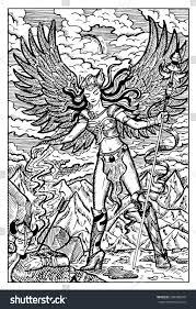 valkyrie north mythology maiden dead warrior stock vector