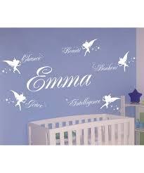 stickers chambre b b personnalis sticker mural enfant bébé chambre 5 fées et prénom personnalisé