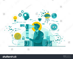 isolated biometric device technology start business stock vector