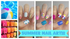 summer nail art three easy ideas jennyclairefox youtube