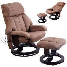 costway brown leisure recliner chair ottoman with 8 motor massage