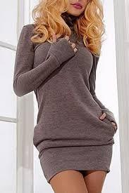 tight dress sleeve dresses gray m sleeve high neck mini tight