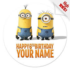 minions cake toppers despicable me minions cake topper 7 5 inch personalised edible on