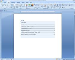 creating a table of contents in word 2007 dummies