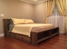 Platform Bed With Headboard Diy Queen Size Storage Bed Includes Cutting Plans U0026 Directions