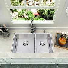 16 Gauge Kitchen Sink by Primart Handcrafted Stainless Steel 33 Inches Undermount Double