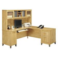 Small Desks With Hutch Bush Somerset L Shaped Desk With Hutch Maple Hayneedle