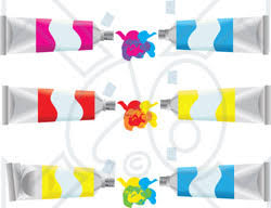 clipart illustration of pink blue red and yellow paint tubes