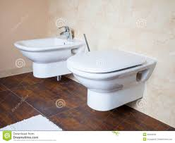 Bidet Sink Hygiene White Porcelain Bidet And Toilet Interior Of Bathroom