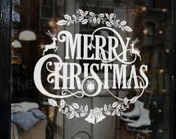Merry Christmas Window Decorations by Christmas Window Etsy
