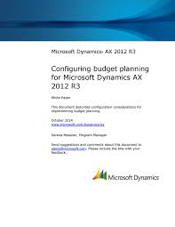 microsoft dynamics ax 2012 r3 configuring budget planning by