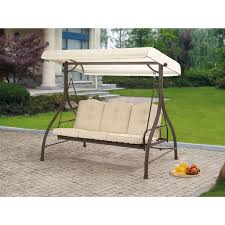 Patio Swing Chair Walmart Mainstays Ashwood Heights 3 Seat Cushion Swing Walmart Com
