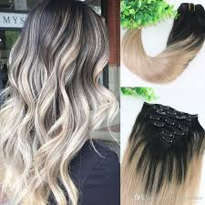 balayage hair extensions 8a 120gram clip in human hair extensions ombre root