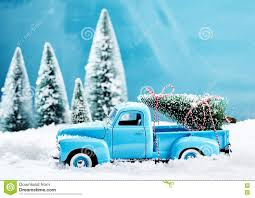 old blue vintage toy truck with christmas tree stock photo image