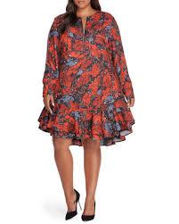 Rebel Flag Lingerie Rebel Wilson Print Drop Waist Split Shoulder Dress With Self Belt
