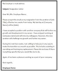 resignation email sample format