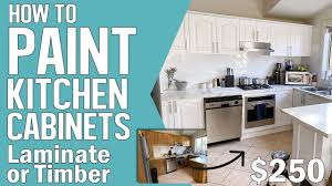 can you resurface laminate cabinets how to paint kitchen cabinets laminate timber roller or spray refinishing diy kitchen makeover