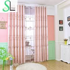 Light Pink Curtains Soul Light Pink Curtain Window Embroidered Leaves