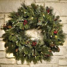 lighted wreaths for outdoors cordless diy pre lit artificial