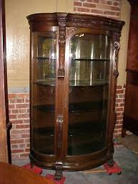 antique curio cabinet with curved glass antique oak curio cabinet antique circa early tiger oak bow front