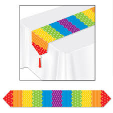 bulk party supplies 12ct beistle printed dots stripes table runner bulk party