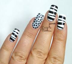 tape u0026 stamp u0027 monochrome nail art withtutorial lucy u0027s stash