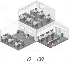 3d Office Floor Plan Flat 3d Isometric Abstract Office Floor Interior Departments