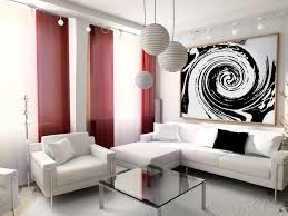 black and white living room with accent color windows decorations