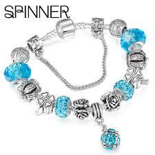 silver plated snake chain bracelet images Spinner european style vintage jpg