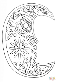 huichol art moon coloring free printable coloring pages