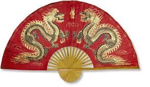 oriental fan wall hanging chinese wall fans fiery dragons