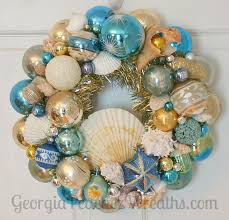 Christmas Wreaths Decorated With Seashells by 18 Best Sea Shells And Shiny Brites Ornament Wreath Images On