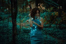 free picture beautiful christmas lights woman forest