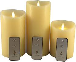 set of 3 luminara flameless candles 4x5 4x7 4x9 ivory