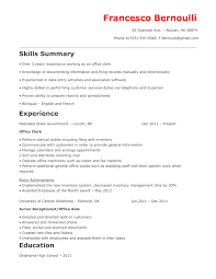 Law Clerk Resume Sample by Office Office Clerk Resume Sample