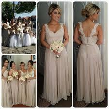 2017 chiffon straps bridesmaid dresses lace open back floor length
