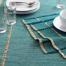 Online Shopping For Dining Table Cover Teal Melange Khadi Table Linen Collection Table Linen Collections