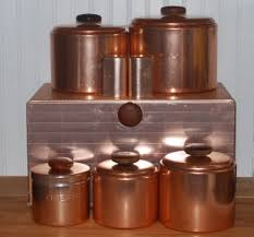 copper kitchen canister sets vintage mirro aluminum copper canister set salt pepper bread box
