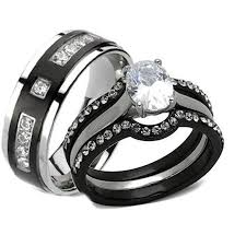 his and matching wedding bands his hers 4 black stainless steel titanium matching wedding