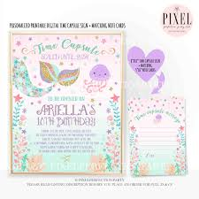 Invitation Note Cards Mermaid Time Capsule First Birthday Matching Note Card