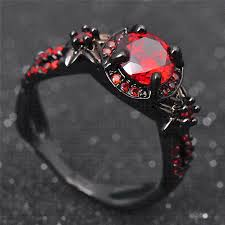red jewelry rings images Fashion flower shiny red ring red garnet women charming engagement jpg
