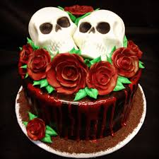 skull cake blood drips red roses birthday cakes